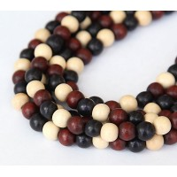 Dyed Wood Beads, Dark Multicolor, 8mm Round