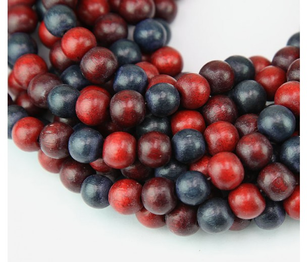 Dyed Wood Beads, Red Brown Multicolor, 8mm Round