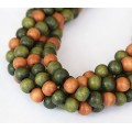 Dyed Wood Beads, Green Multicolor, 8mm Round