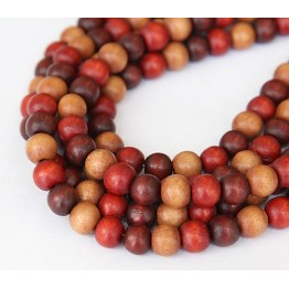 Dyed Wood Beads, Brown Multicolor, 8mm Round