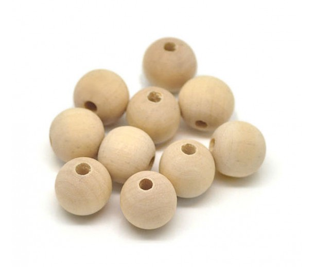 Unfinished Wood Beads, 10mm Round