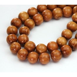Bayong Wood Beads, Brown, 10mm Round