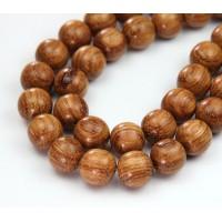 Bayong Wood Beads, Brown, 12mm Round
