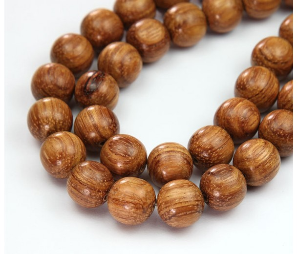 Bayong Wood Beads, Brown, 12mm Round