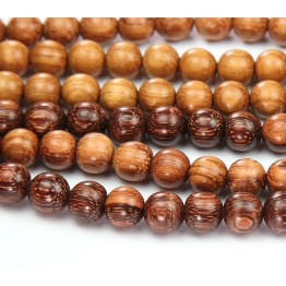 Bayong Wood Beads, Brown, 8mm Round