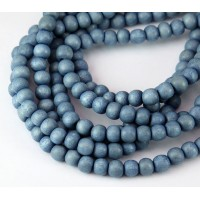 Dyed Wood Beads, Steel Blue, 5-6mm Round