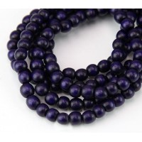 Dyed Wood Beads, Midnight Purple, 5-6mm Round