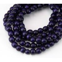 Dyed Wood Beads, Midnight Purple, 5-6mm Round
