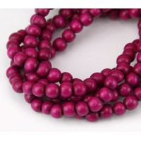 Dyed Wood Beads, Magenta, 5-6mm Round