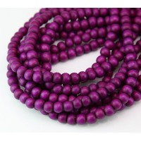 Dyed Wood Beads, Bright Purple Pink, 5-6mm Round
