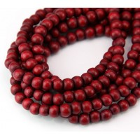 Dyed Wood Beads, Red, 5-6mm Round