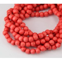 Dyed Wood Beads, Coral, 5-6mm Round