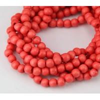 Dyed Wood Beads, Orange, 5-6mm Round