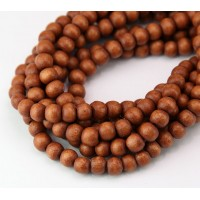 Dyed Wood Beads, Sepia Brown, 5-6mm Round