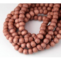 Dyed Wood Beads, Rose Brown, 5-6mm Round