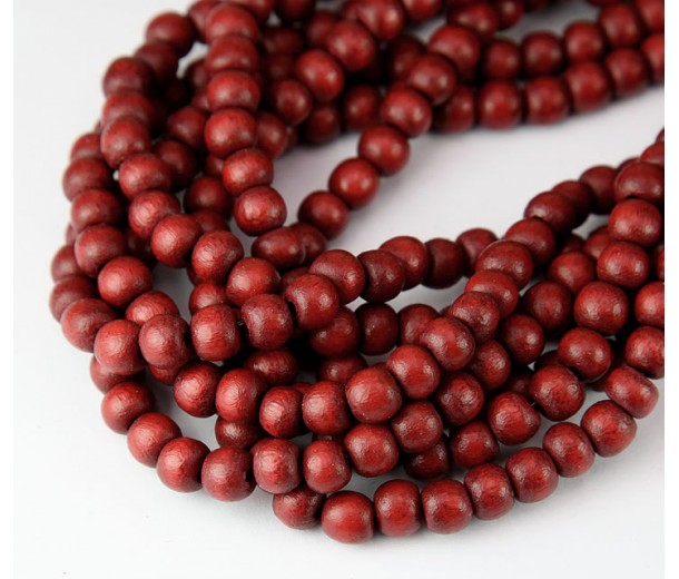 Dyed Wood Beads, Rust Brown, 5-6mm Round
