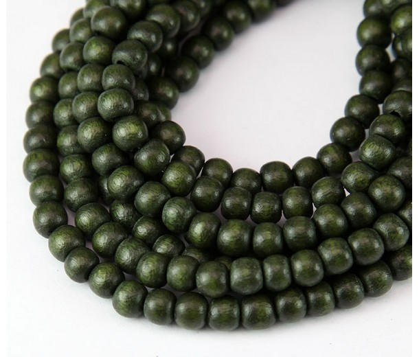 Dyed Wood Beads, Olive Green, 5-6mm Round