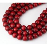 Dyed Wood Beads, Red, 8mm Round..