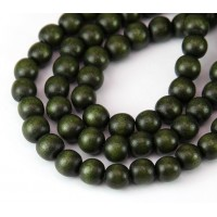Dyed Wood Beads, Olive Green, 8mm Round