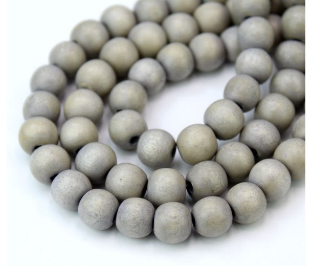 Dyed Wood Beads, Grey, 6mm Round