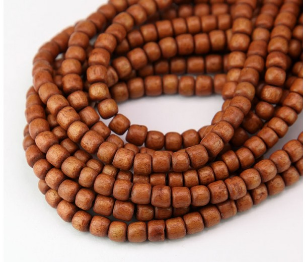 Dyed Wood Beads, Sepia Brown, 5x4mm Pucalet