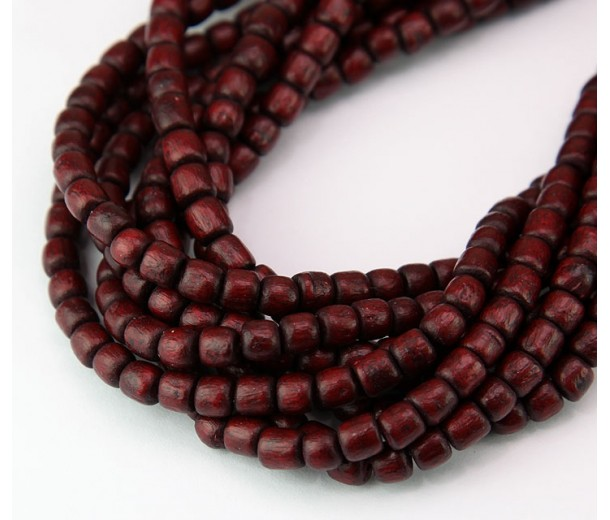 Dyed Wood Beads, Dark Maroon, 5x4mm Pucalet