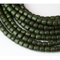 Dyed Wood Beads, Olive Green, 5x4mm Pucalet