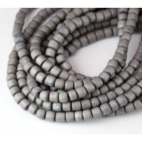 Dyed Wood Beads, Mouse Grey, 5x4mm Pucalet