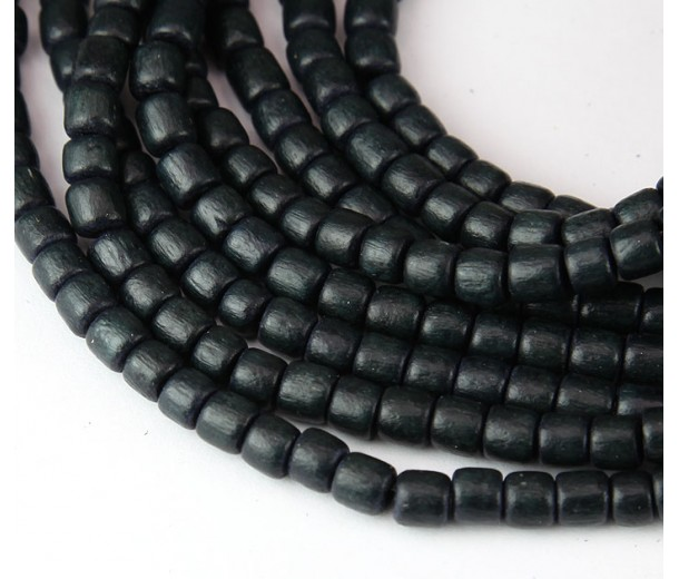 Dyed Wood Beads, Anthracite, 5x4mm Pucalet