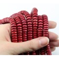 Dyed Wood Beads, Red, 8x4mm Pucalet