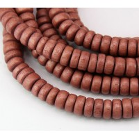 Dyed Wood Beads, Rose Brown, 8x4mm Pucalet