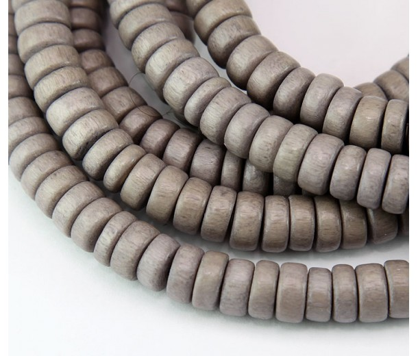 Dyed Wood Beads, Beige, 8x4mm Pucalet
