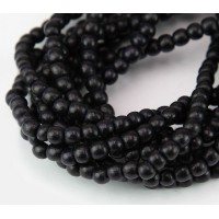 Dyed Wood Beads, Black, 4-5mm Round