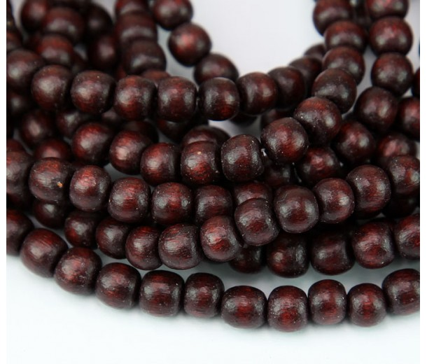Dyed Wood Beads, Chocolate Brown, 4-5mm Round