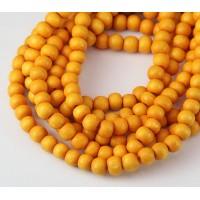 Dyed Wood Beads, Honey Yellow, 5-6mm Round