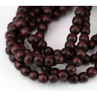 Dyed Wood Beads, Chocolate Brown, 5-6mm Round