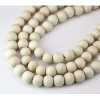 Dyed Wood Beads, White, 8mm Round