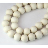 Dyed Wood Beads, White, 10mm Round