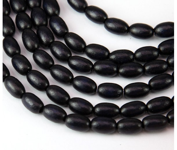 Dyed Wood Beads, Black, 9x6mm Oval