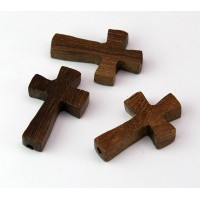 Robles Wood Cross Beads, 25x15mm, Drilled Lengthwise