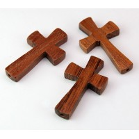 Bayong Wood Cross Beads, 39x22mm, Drilled Lengthwise