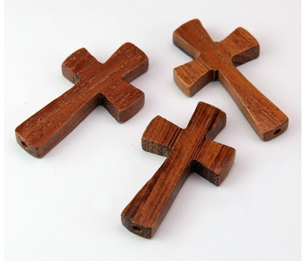 Bayong Wood Cross Bead, 39x22mm, Drilled Lengthwise, 1 Piece