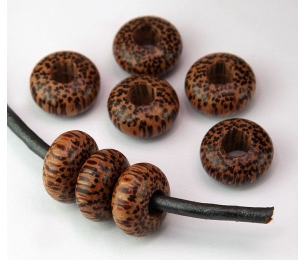 Palmwood Beads, Brown, 14x8mm Rondelle, 5mm Hole