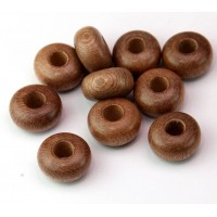 Rosewood Beads, Beige, 14x8mm Rondelle, 5mm Hole, Pack of 5