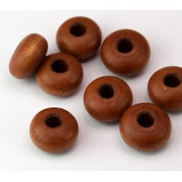 Dyed Wood Beads, Sepia Brown, 14x8mm Rondelle, 5mm Hole, Pack of 5