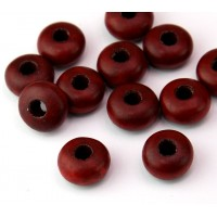 Dyed Wood Beads, Rust Brown, 14x8mm Rondelle, 5mm Hole, Pack of 5