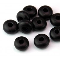 Dyed Wood Beads, Black, 14x8mm Rondelle, 5mm Hole