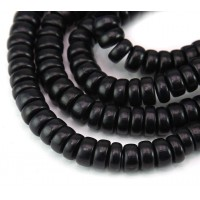Dyed Wood Beads, Black, 8x4mm Pucalet