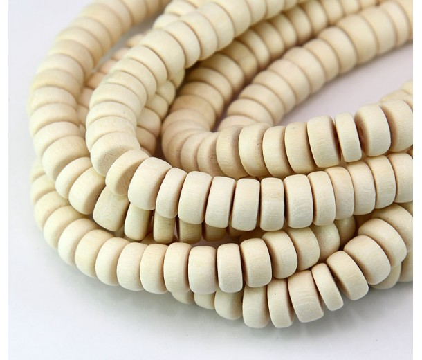 Dyed Wood Beads, White, 8x4mm Pucalet
