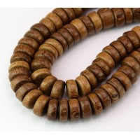 Robles Wood Beads, Brown, 10x5mm Pucalet